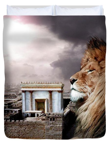 Yeshua In The Outer Court Duvet Cover by Bill Stephens