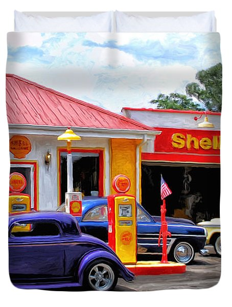 Yesterday's Shell Station Duvet Cover by Michael Pickett
