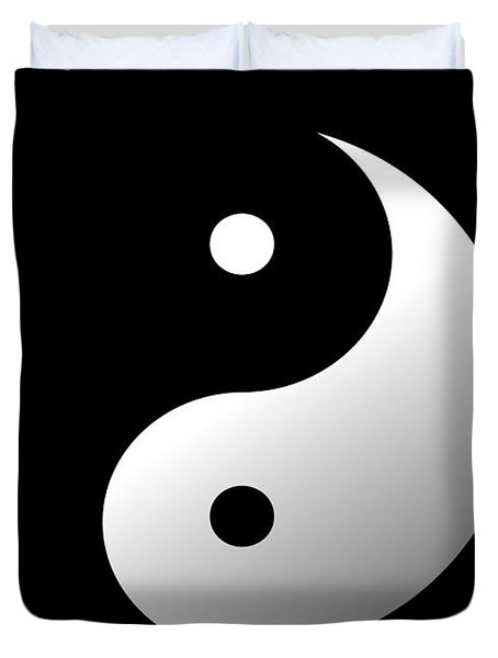 Duvet Cover featuring the painting Yin And Yang by Roz Abellera Art