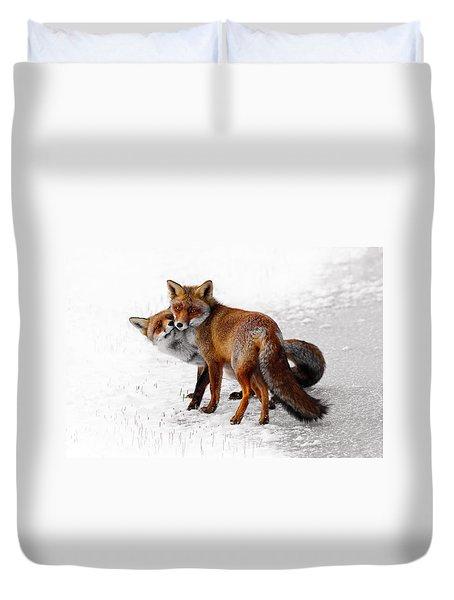 Yin Yang _ Red Fox Love Duvet Cover