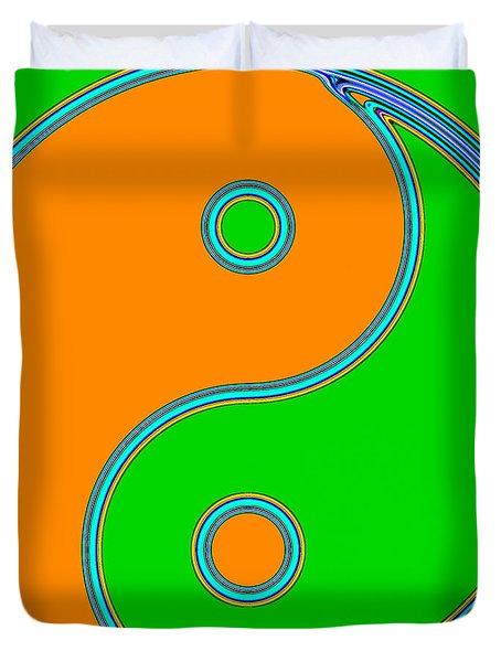Yin Yang Orange Green Pop Art Duvet Cover