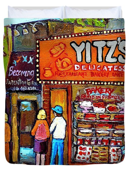 Yitzs Deli Toronto Restaurants Cafe Scenes Paintings Of Toronto Landmark City Scenes Carole Spandau  Duvet Cover by Carole Spandau