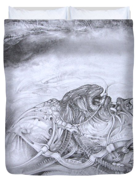 Duvet Cover featuring the drawing Ymir At Rest by Otto Rapp