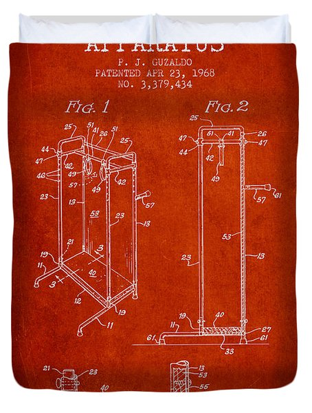 Yoga Exercising Apparatus Patent From 1968 - Red Duvet Cover