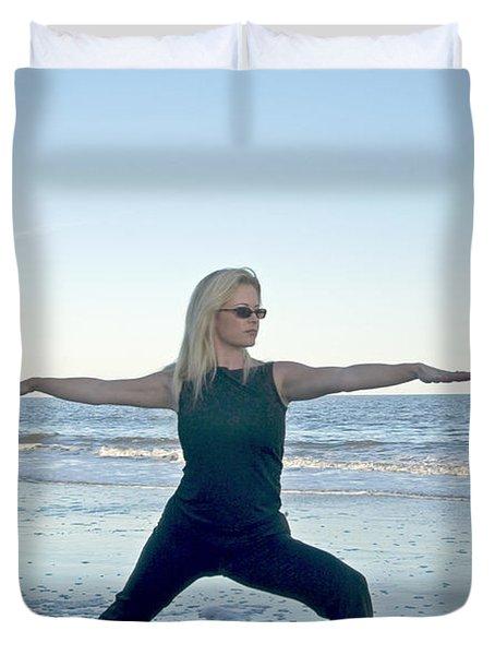 Yoga Woman On The Beach Duvet Cover