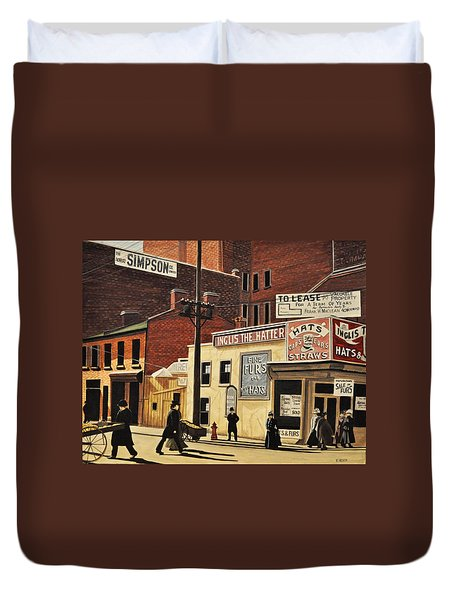 Duvet Cover featuring the painting Yonge And Richmond Streets 1899 by Kenneth M  Kirsch