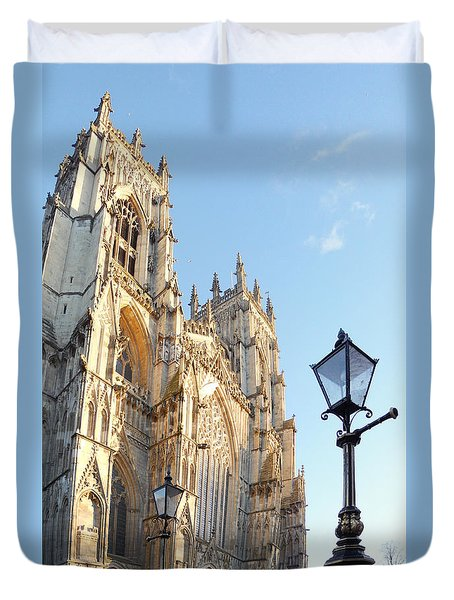 York Minster With Lampost Duvet Cover by Neil Finnemore