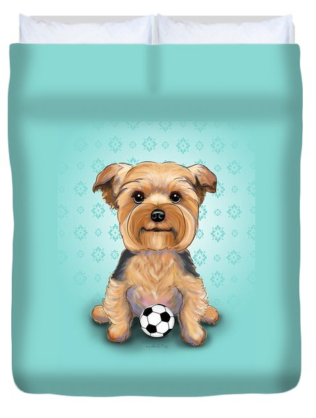 Yorkie  Baxter Hemenway Duvet Cover by Catia Cho