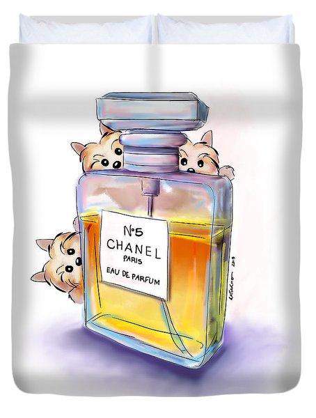 Yorkie Chanel Crazies Duvet Cover