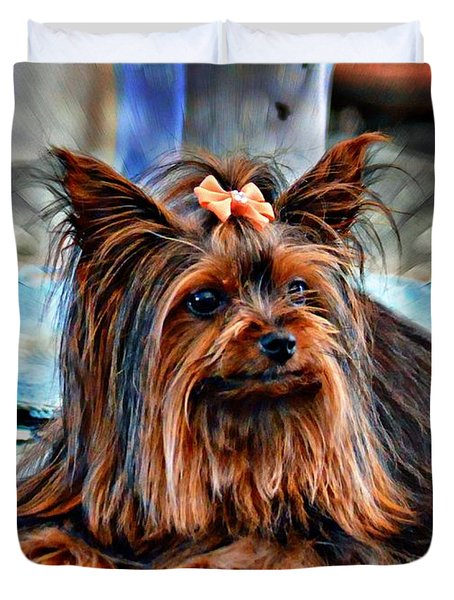 Yorkie Girl  Duvet Cover