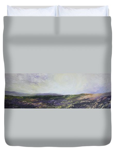 Duvet Cover featuring the painting Yorkshire Moors by Jean Walker