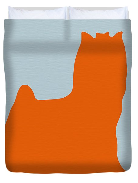 Yorkshire Terrier Orange Duvet Cover by Naxart Studio