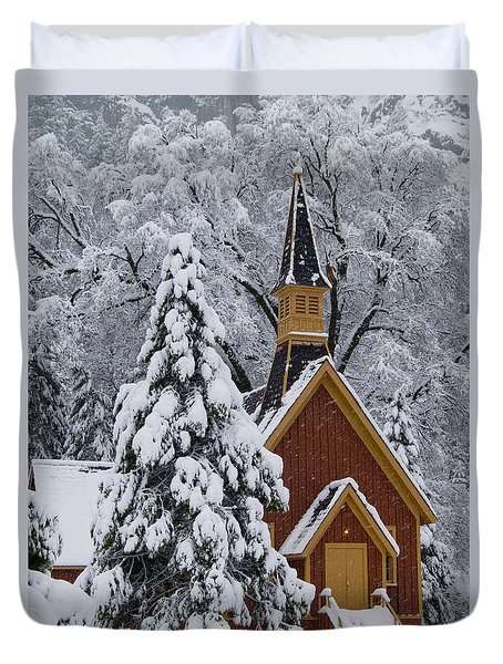 Yosemite Chapel Duvet Cover by Bill Gallagher