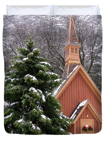 Duvet Cover featuring the photograph Yosemite Chapel In Winter by Kevin Desrosiers