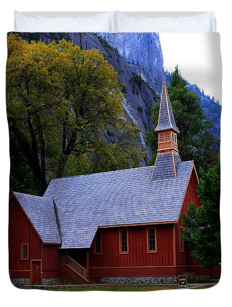 Yosemite Fall  Chapel  Duvet Cover by Duncan Selby