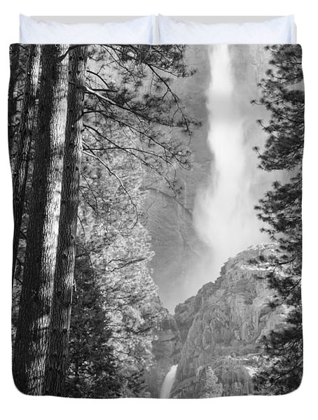 Yosemite Falls Black And White Duvet Cover by Bruce Gourley