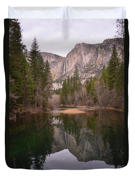 Yosemite Falls Reflection Duvet Cover by Debby Pueschel