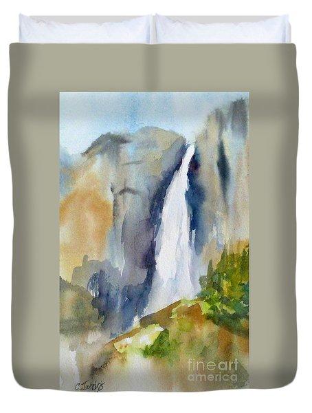 Yosemite Falls Springtime Duvet Cover