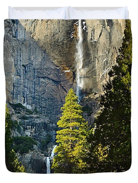 Yosemite Falls With Late Afternoon Light In Yosemite National Park. Duvet Cover by Jamie Pham
