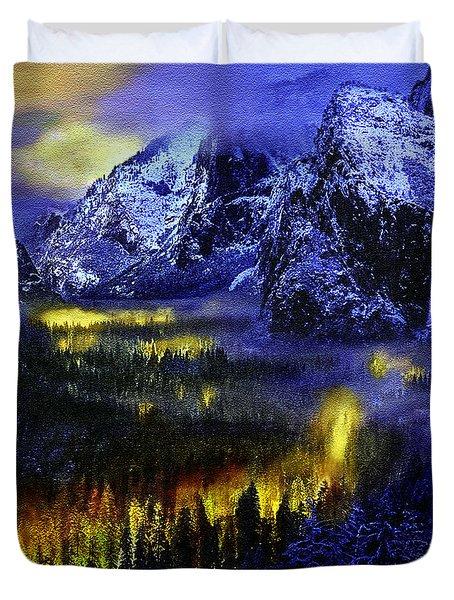 Yosemite Valley At Night Duvet Cover by Bob and Nadine Johnston