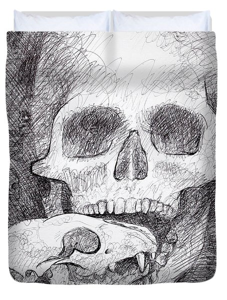 You Are What You Eat Skull Drawing Duvet Cover by Adam Long