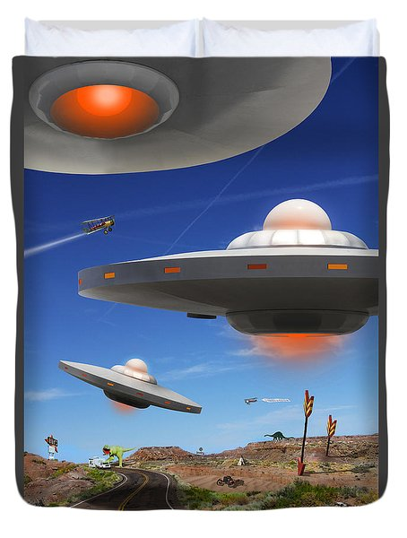 You Never Know What You Will See On Route 66 Duvet Cover by Mike McGlothlen