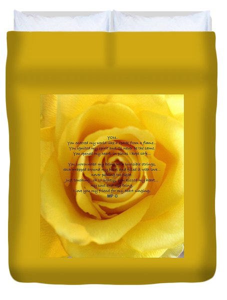 You Poem On Yellow Rose Duvet Cover