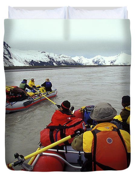 Young Adults Rafting On Alsek River Duvet Cover