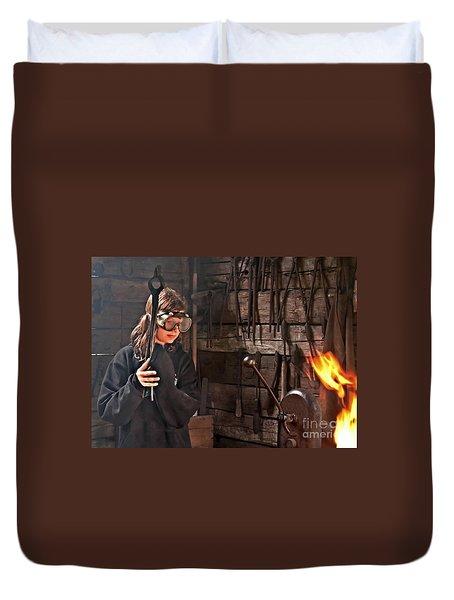 Young Blacksmith Girl Art Prints Duvet Cover