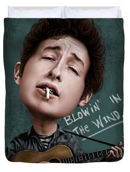 Young Bob Dylan Duvet Cover by Andre Koekemoer