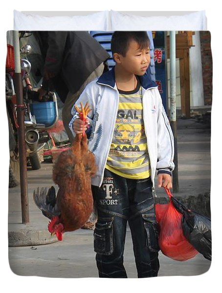 Young Boy Carrying A Dead Chicken To School Duvet Cover