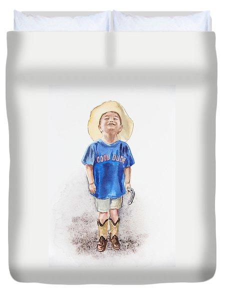 Young Cowboy  Duvet Cover by Irina Sztukowski