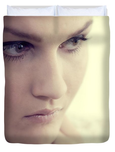 Young Elegant Woman In Glamour Fashion Duvet Cover by Michal Bednarek