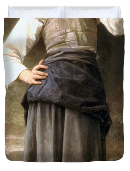 Young Girl Going To The Fountain Duvet Cover by William Bouguereau