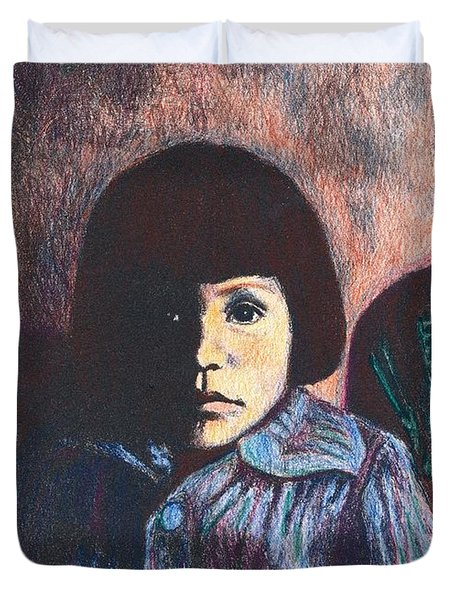 Young Girl In Blue Sweater Duvet Cover by Kendall Kessler