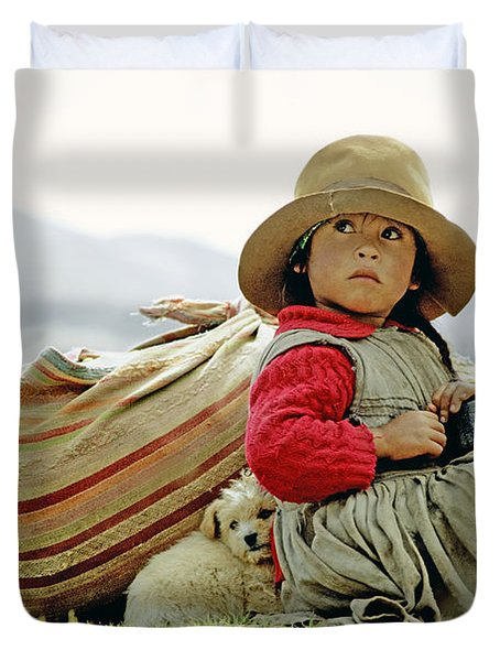 Young Girl In Peru Duvet Cover
