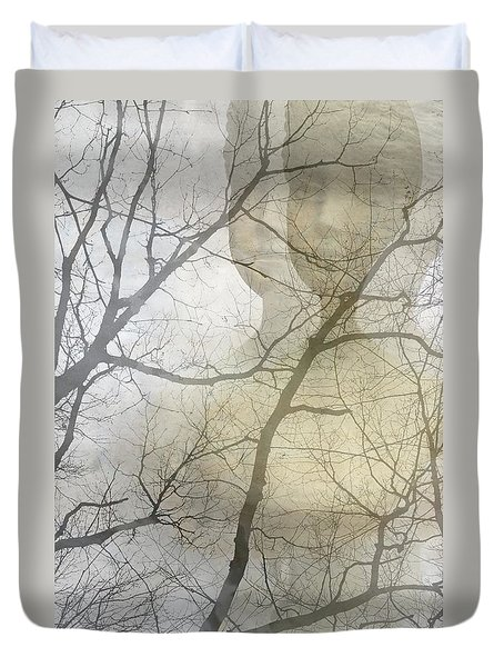 Duvet Cover featuring the photograph Young Girl In The Mist by Suzanne Powers