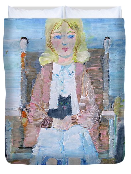 Young Girl-with Cat- On Wheelchair Duvet Cover by Fabrizio Cassetta