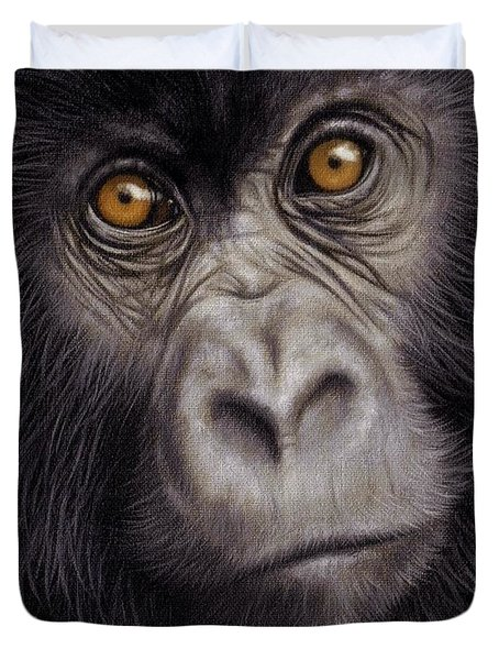 Young Gorilla Painting Duvet Cover by Rachel Stribbling
