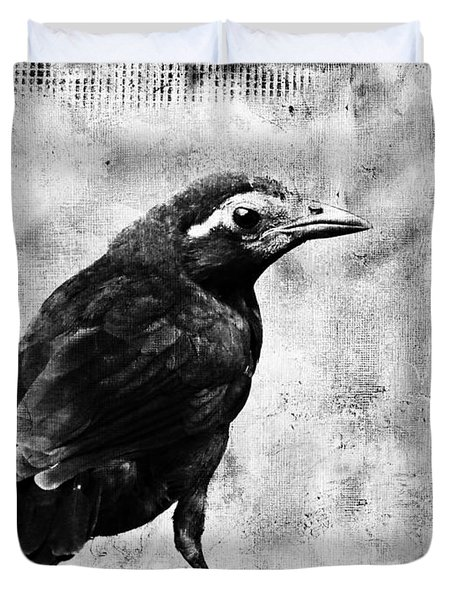 Young Grackle Duvet Cover by Cassie Peters