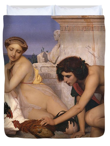 Young Greeks Attending A Cock Fight Duvet Cover by Jean Leon Gerome