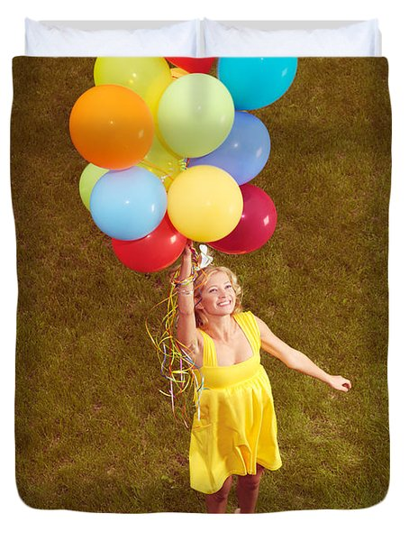 Young Happy Woman Flying On Colorful Helium Balloons Duvet Cover by Oleksiy Maksymenko