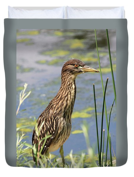 Young Heron Duvet Cover