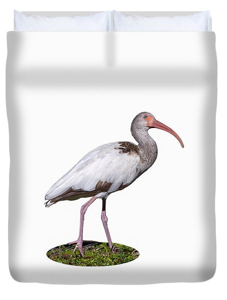 Duvet Cover featuring the photograph Young Ibis Gazing Upwards by John M Bailey