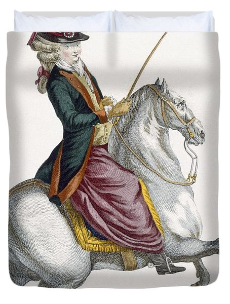Young Lady Riding A Horse, Engraved Duvet Cover