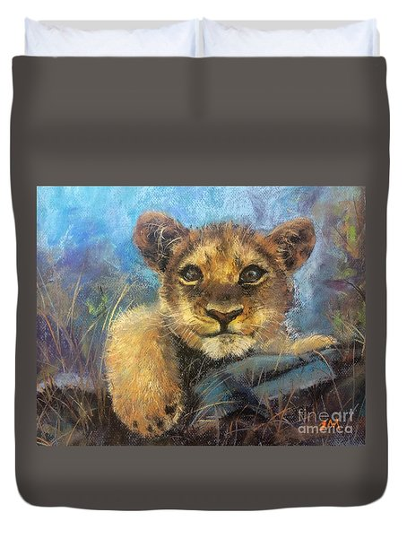 Duvet Cover featuring the painting Young Lion by Jieming Wang