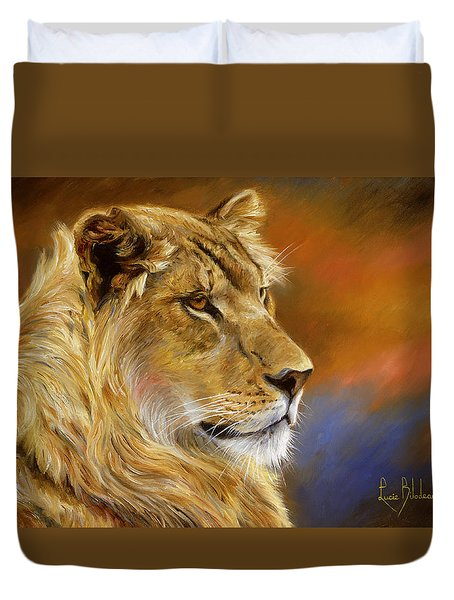 Young Lion Duvet Cover by Lucie Bilodeau
