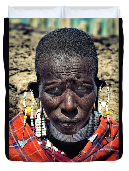 Portrait Of Young Maasai Woman At Ngorongoro Conservation Tanzania Duvet Cover by Amyn Nasser