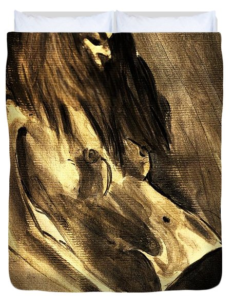 Duvet Cover featuring the painting Young Nude Female Teen In Black Gold Holding Her Hands By Her Hips In An Introspective Erotic Pose  by M Zimmerman