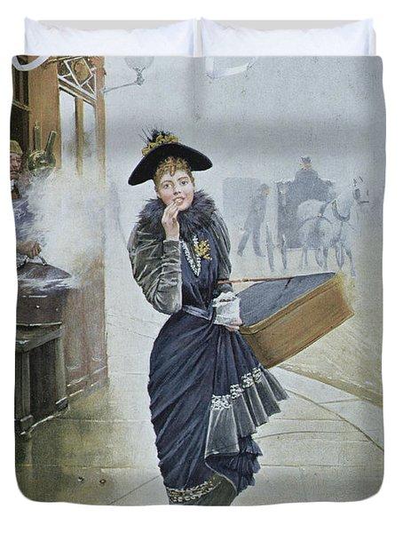 Young Parisian Hatmaker Duvet Cover by Jean Beraud